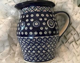 Vintage Polish Pottery Boleslawiec Large Stoneware Spouted Pitcher, Blue and White Polish Pottery, Vintage Polish Stoneware