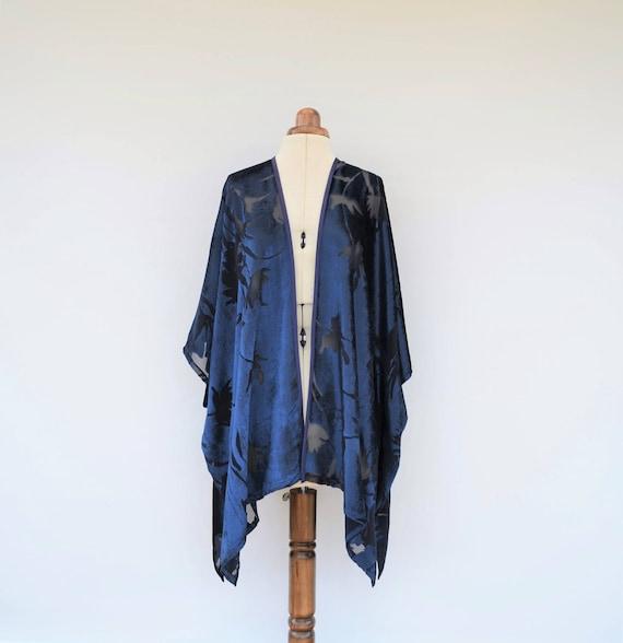 Kimono Cardigan Silk Velvet Jacket Navy Blue Kimono Jacket