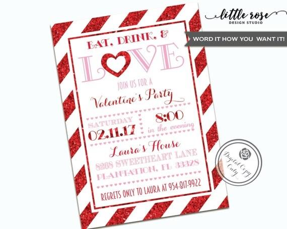 Valentinstag Party Einladung Essen Trinken Liebe Valentine, Einladungs