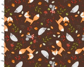 Brown Woodland Animal Fabric, 3 Wishes Forest Friends 11732 Brown, Fox, Squirrel, Hedgehog, Mushrooms & Berries, Baby Quilt Fabric, Cotton