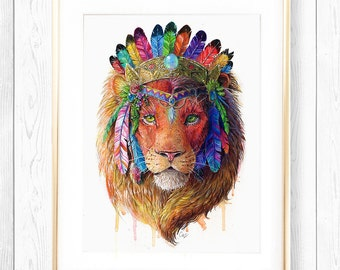 Bohemian Lion - Spirit Animal Totem Series Fine Art Print