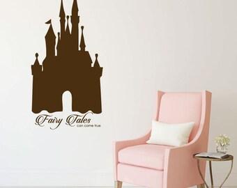 Fairy Tale Castle - Vinyl Wall Decal, Little Girl Bedroom, Fairytales Come True, Girls Playroom Decor
