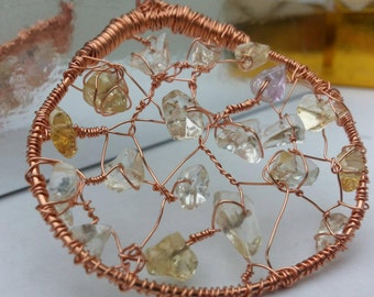 Wire Wrapped Jewelry, Copper Citrine Gemstones Pendant Necklace, Copper Jewelry, Handmade, Wire Wrap, Jewelry, Large Pendant, Necklace
