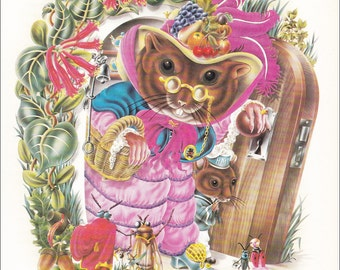 Alan Aldridge psychedelic 70's illustration design mouse Mrs Dormouse vintage print anthropomorphic 8.25x11 inches