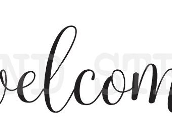 """welcome~~ STENCIL three sizes 6""""x24"""" 9""""x36"""" or 12""""x48""""  for Painting Signs Canvas Fabric Wood Pallets Porch Airbrush Crafts Wall Art"""