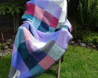 New knitted chunky afghan blanket throw patchwork squares
