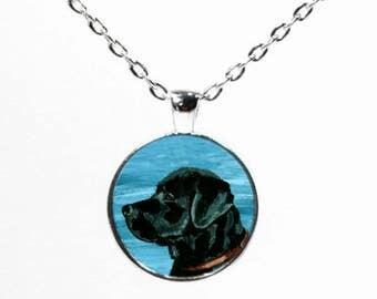 Round Black Lab Dog Necklace - Labrador Retriever Art Necklace - Black Lab - Dog Art Pendant - Dog Breed - Gift Idea for Dog Lovers