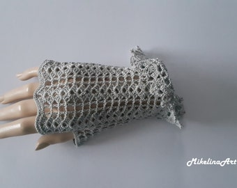 Crochet Mittens, Fingerless Gloves,Light Grey, Sharkskin Colour, 100% Mercerized Cotton.