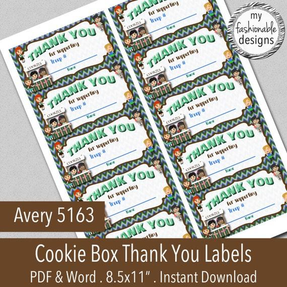 items similar to cookie box printable thank you labels