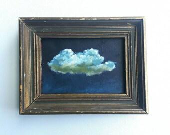 original cloud painting, landscape painting, small painting, sky painting, 4x4 painting, acrylics on canvas, mini art