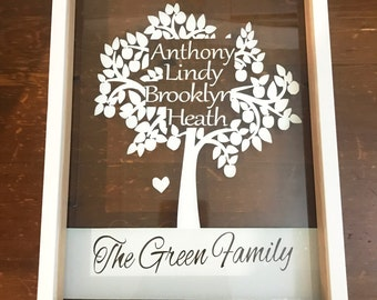 Personalised Names Family Tree cut out Frame, Shadow box Mum Grandparent Children