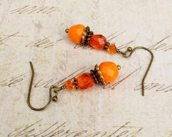 Orange Earrings, Orange Jewelry,Bronze Earrings, Antique Gold Earrings, Czech Glass Beads,Swarovski Crystal Earrings, Unique Earrings, Gifts