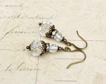 Crystal Earrings, Clear Earrings, Bridal Earrings, Czech Glass Beads, Victorian Earrings, Crystal Wedding Earrings, Crystal Jewelry, Gifts