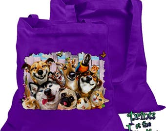 Selfies Pets Tote Bag/Funny Animal Selfies Pets Canvas Tote/Howard Robinson's Dogs, Cats, Pets In The Backyard Boat/Beach/Book/Shopping Bag