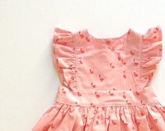 FLAMINGO // pinafore dress // toddler girls dress