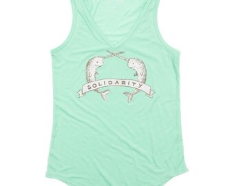 Narwhal Solidarity Flowy V-Neck Ladies Tank