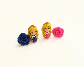 Aurora, the Sleeping Beauty, stud or magnetic earrings inspired. Pink or blue dress.Disney jewelry. Clay charm.