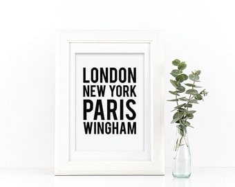 Location Print - Personalised Print - Black and White Print - Personalized Print - London New York Print - Typography Print
