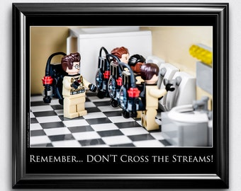 "Bathroom Wall Art, Bathroom Sign, Funny Bathroom Decor - Toy Photography Bathroom Wall Art for Pop Culture Fans: ""Don't Cross the Streams!"""