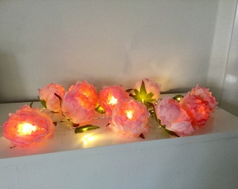 10 Pink peony roses and 10 leaves fairy lights, peony string garland, peony led lights