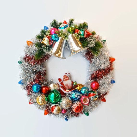 Christmas ornament wreath garland tree light retro upcycled