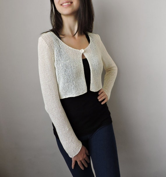 Hand knit bolero Bridal cardigan Cropped cardigan Knit crop