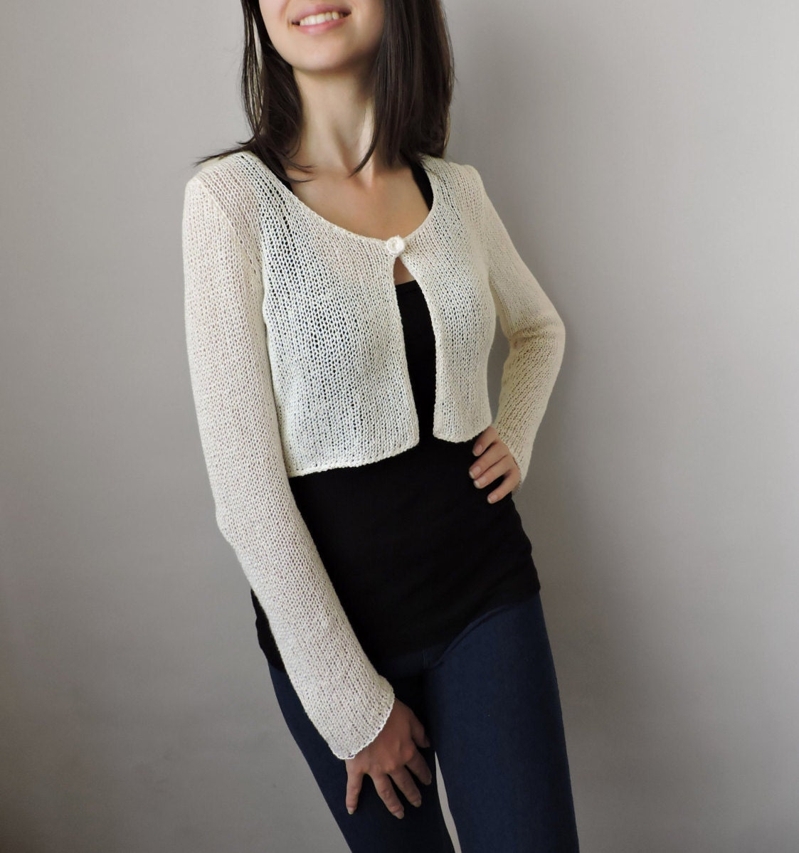 Hand knit bolero Bridal cardigan Cropped cardigan Knit crop