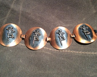 Copper Disc Bracelet with Ballerina figures