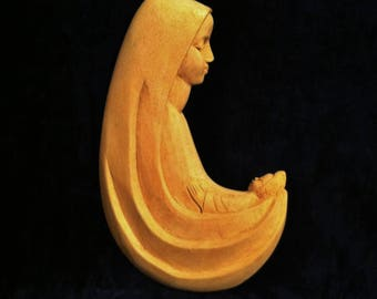 Vintage Madonna And Child In Hand Carved Wood