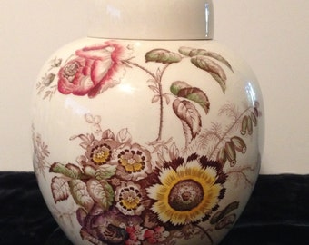 "Mason's Ironstone Large Ginger Jar 8+"", Friarswood Pattern, Vintage, Multi Floral, Mason's Of England, Canister,Mason Stamped, Collectible"