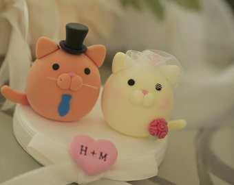 kitty and Cat wedding cake topper