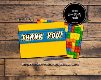 Lego Thank You Card (Digital File or Prints with Free Envelopes) (FREE Shipping)