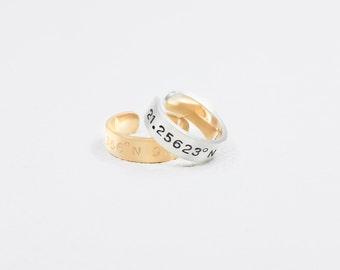 20% OFF Latitude Longitude Ring / Custom Coordinates Ring / Personalized Coordinates Jewelry / Coordinates Gift in Silver / JR01