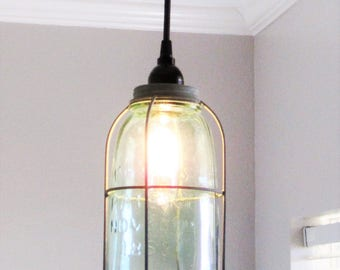 Galvanized Caged Mason Jar Pendant Light