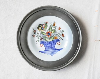 French pewter-rimmed collectors' plate-tin plate-handpainted-Hand painted pewter rimmed plate-Plate with Embossed Pewter Rim or Collar