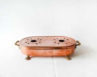 French Antique Copper Plate Warmer-Trivet-Hot Plate stand-Pot holder- French Copper Pan-Large Food-Plate Warmer- Antique Copper Tableware