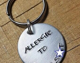 Funny Keychain - Swear Word Keychain - Swear Word Gift - Cuss Word Keychain - Cuss Word Gift - Allergic to Bulls*t - Unique Gift - Funny