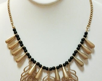 Gold Teardrops with Black Beads Necklace / Gold Leaves Bib Necklace.