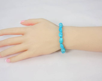 Sleeping Beauty Nugget Bead Bracelet, Genuine Turquoise, Robins Egg Blue, Sterling Silver Toggle Clasp, Turquoise Bead Bracelet