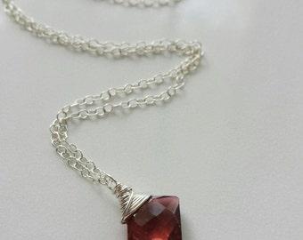 Pink Tourmaline Necklace, Small Tourmaline Pendant,  Sterling Silver Necklace, Pink Tourmaline Jewelry, Sterling Silver Tourmaline Necklace