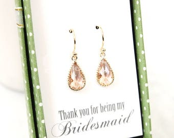 Teardrop peach earrings, Champagne gold earrings, Dangle earrings, Flower girl, Maid of honor gift, Bridal earrings, Wedding gift earrings