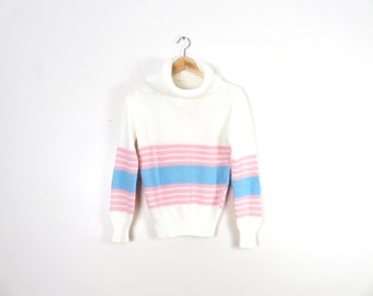 Vintage 80s Pastel Striped Cozy Lolita Cowl Neck Sweater Size M