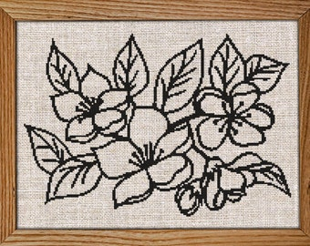 NEW / Modern Cross Stitch Pattern / PDF Chart Instant Download / Blooming FLOWERS / Blossom / Spring