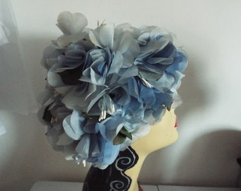 Vintage Ladies Hat 1950's BLUE flower covered cloche by Urique London