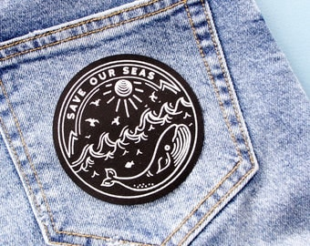 Save Our Seas Patch / Nautical Patch / Cute Patch / Screen Printed Patch / Whale Patch / Sea Patch / Marine Biology / Ocean Patch