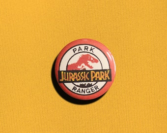 Park Ranger - 1.25 inch Pinback Button, Badge, Pin, Pin-back, Novelty, Jurassic Park, Movie, Film, Dinosaurs, Humor, Fan, Steven Spielberg