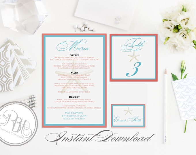 Beach Wedding Table Number, Place Card, Menu INSTANT DOWNLOAD-DIY Editable Text-turquoise & coral with starfish-Natahlia Table Package
