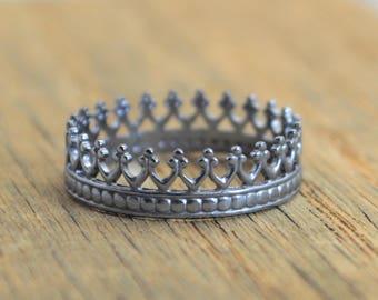 Gun Metal Princess Ring, Crown Ring, Gun metal Ring, Gun metal Silver Ring, Tiara Ring, Silver Crown Ring, Queen Ring, Princess Crown Ring