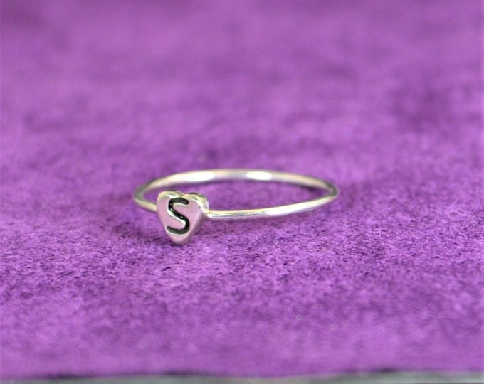 Initial Heart Ring, Monogram Heart Ring, Silver Heart Ring, Personalized Heart Ring, Sterling Heart Ring, Initial Ring, Silver Monogram Ring