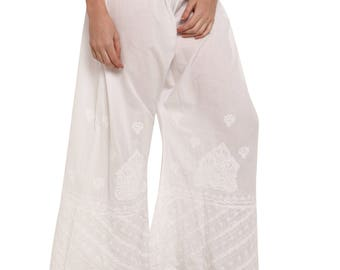 Women cotton palazzo harem pant trouser  salwar/ palazzo chikankari hand  embroidered Boho hippie   / ladies / girls Indian